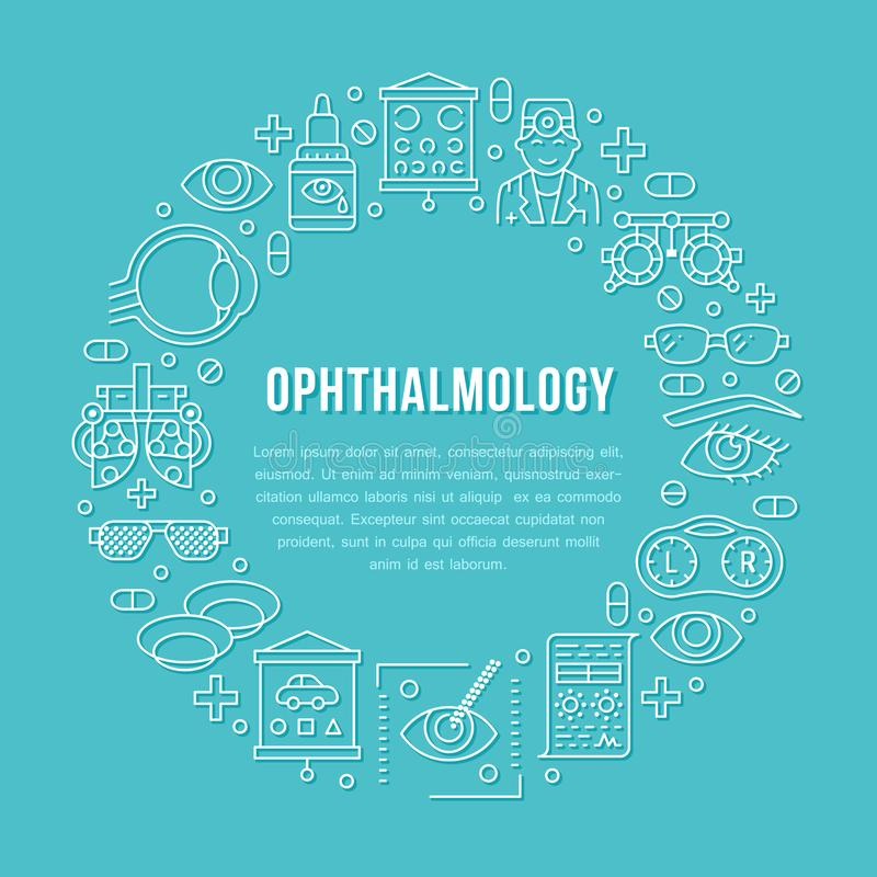Ophthalmology, eyes health care circle porter with line icons. Optometry equipment, contact lenses, eye glasses, doctor royalty free illustration