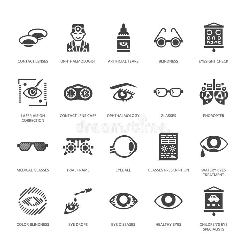 Ophthalmology, eyes health care glyph icons. Optometry equipment, contact lenses, glasses, blindness. Vision correction. Signs for oculist clinic. Solid vector illustration