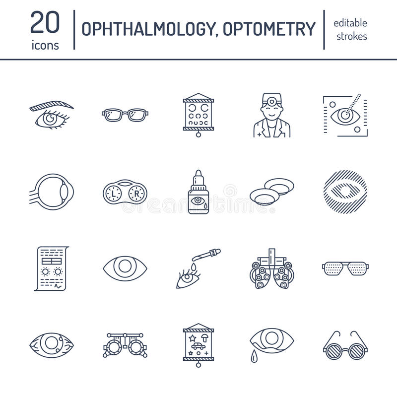 Ophthalmology, eyes health care line icons. Optometry equipment, contact lenses, glasses, blindness. Vision correction stock illustration