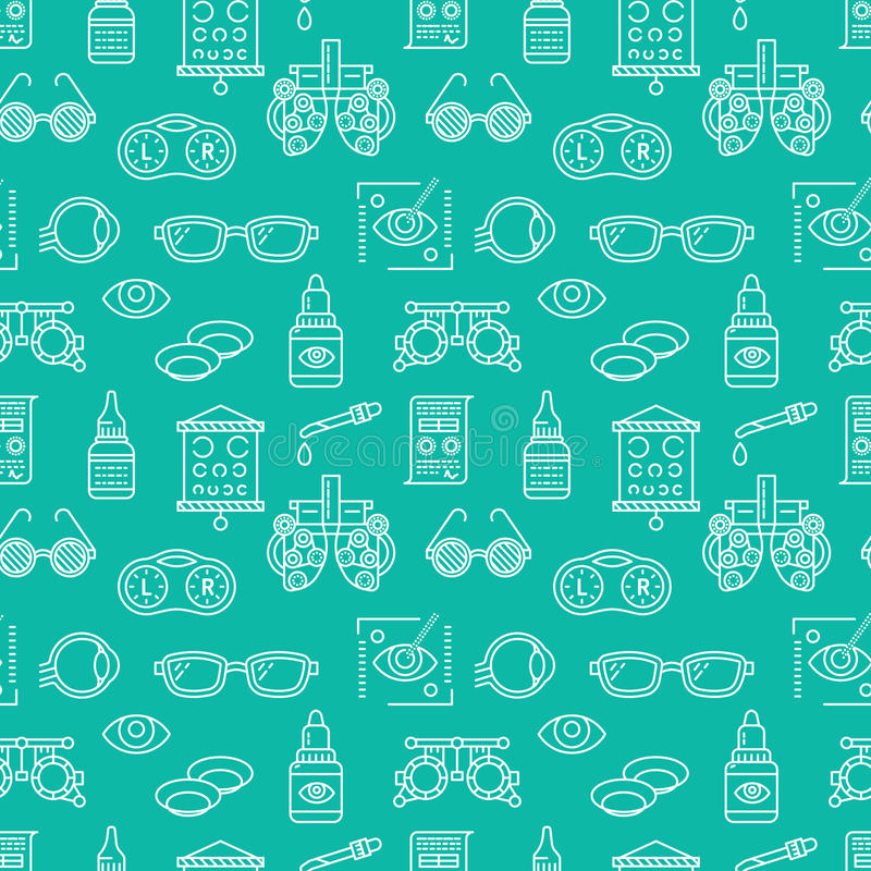 Ophthalmology, eyes health care seamless pattern, medical vector blue background. Optometry equipment, contact lenses royalty free illustration