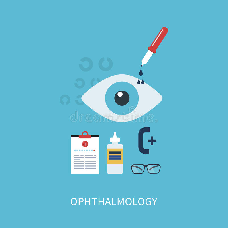 Ophthalmology flat concept. Icons set vector illustration in flat style vector illustration