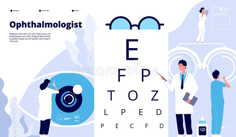 Ophthalmology landing. Ophthalmologist checks patient sight. Eyes test new technology. Eye care ophthalmological vector vector illustration
