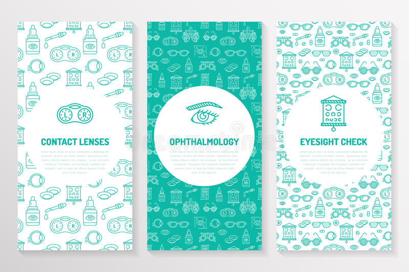 Ophthalmology, medical brochure template, flyer. Eye health care thin line icons contact lenses, eyesight check. Cute stock illustration