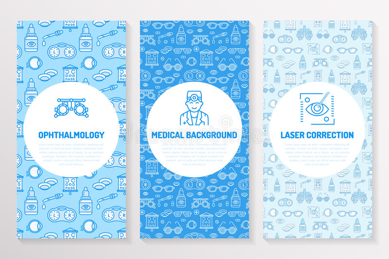 Ophthalmology, medical brochure template, flyer. Eye health care thin line icons laser vision correction, eyesight check stock illustration
