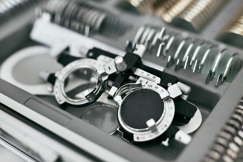 Ophthalmology Medical Equipment, Tools For Eyesight Exam Closeup. Ophthalmology Medical Equipment. Tools For Eyesight Exam Closeup, Eye Vision Diagnostic stock image