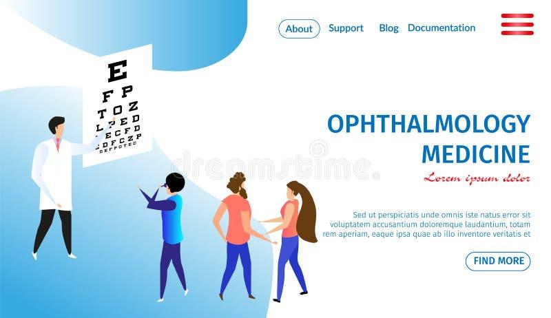 Ophthalmology Medicine Horizontal Banner. Eye Care stock illustration
