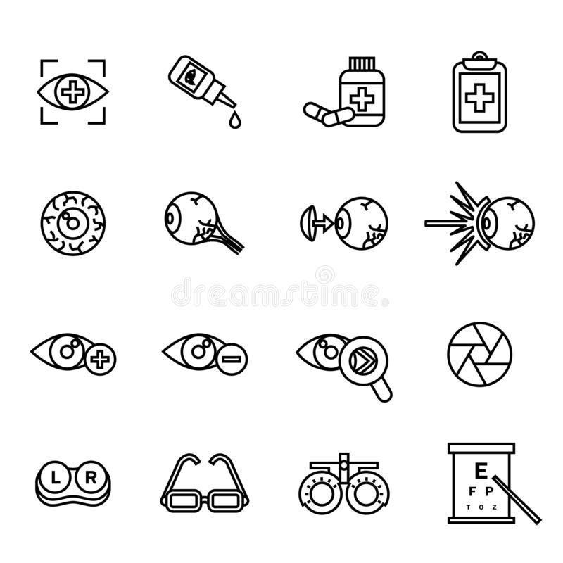 Ophthalmology, optical, optometry Related icons set. Eye health care related pictograms, such as laser correction, eye anatomy, co stock illustration