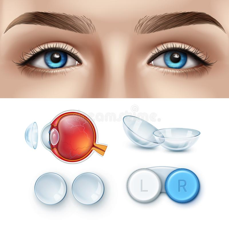 Free Ophthalmology Realistic Set Of Contact Lens And Human Eye Royalty Free Stock Image - 146164156
