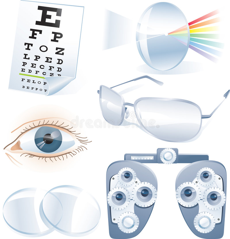 Ophthalmology vector icon set vector illustration