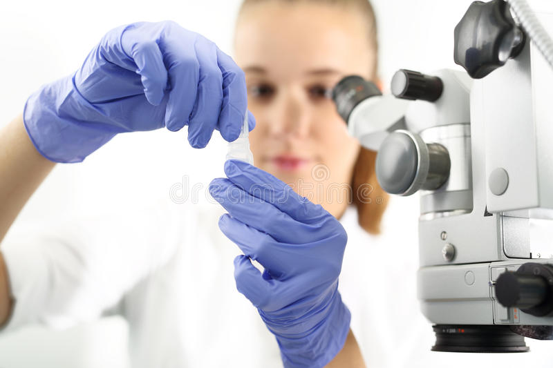 Ophthalmology. Young attractive doctor ophthalmologist at an ophthalmologist royalty free stock images