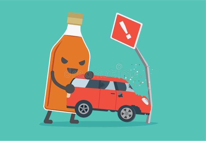 Opiły i jeżdżeniu robi wypadkowi samochodowemu ilustracji