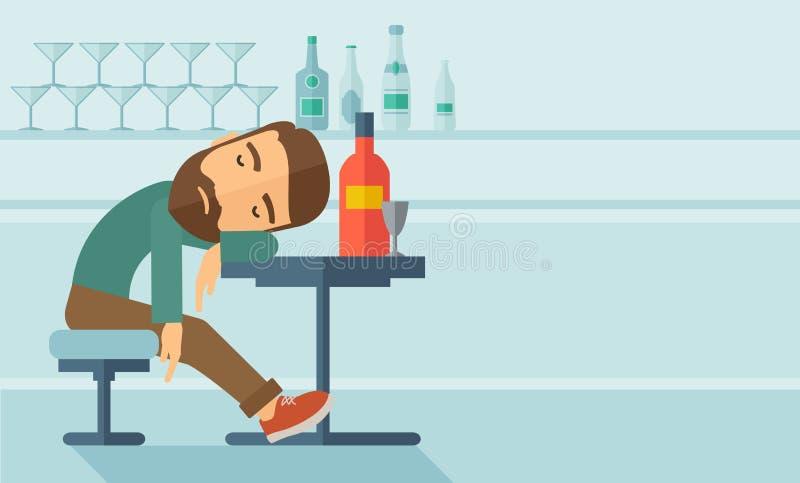 Opiły mężczyzna spada uśpiony w pubie ilustracja wektor
