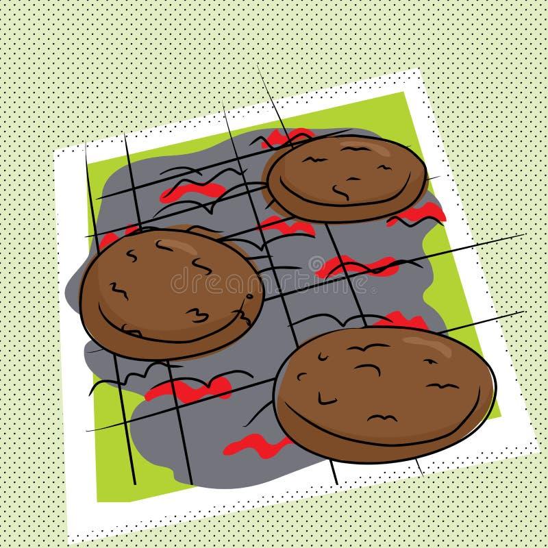 Opieczenie hamburgery ilustracji