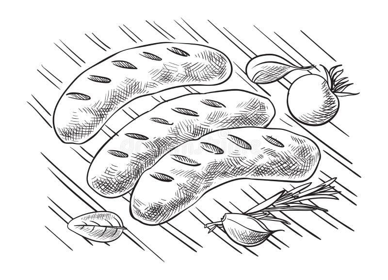 Opieczenie kiełbasy na grilla grillu ilustracja wektor