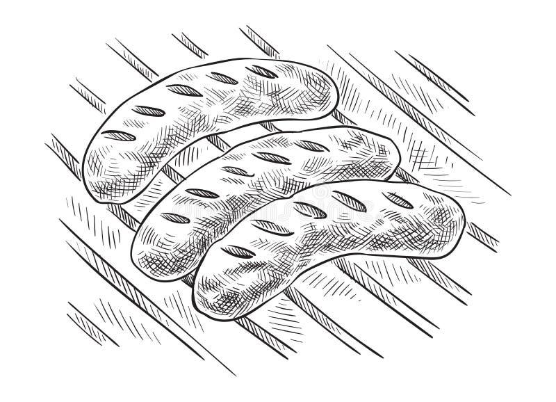 Opieczenie kiełbasy na grilla grillu royalty ilustracja