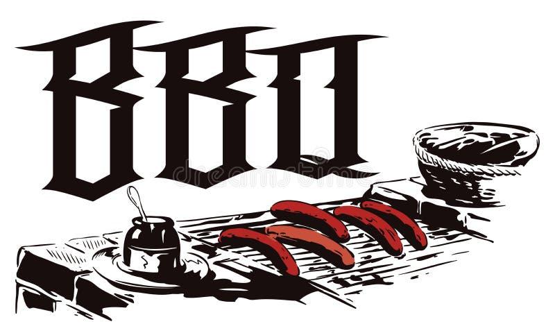 Opieczenie kiełbasy na grilla grillu Ilustracja w retro stylu ilustracja wektor