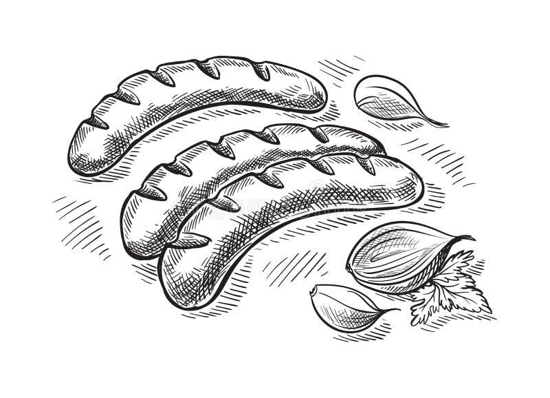 Opieczenie kiełbasy odizolowywać na białym tle ilustracji