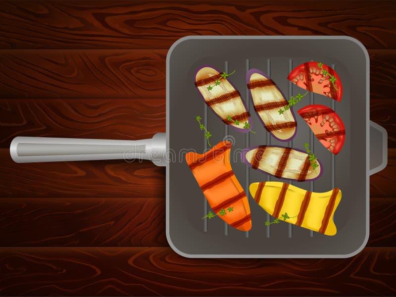 Opieczenie niecki papryki oberżyny pomidorowa macierzanka ilustracja wektor