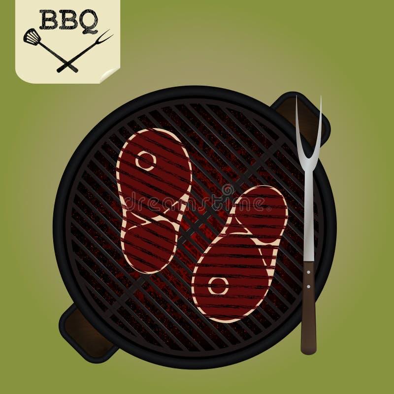 Opieczenie stki na grillu - odgórny widok royalty ilustracja