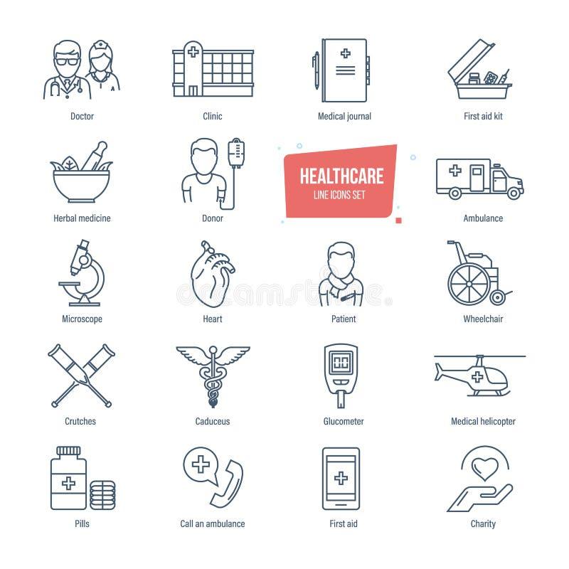 Opiek zdrowotnych Kreskowe ikony Ustawiać System opieki zdrowotnej i medyczny diagnostyczny wyposażenie ilustracji