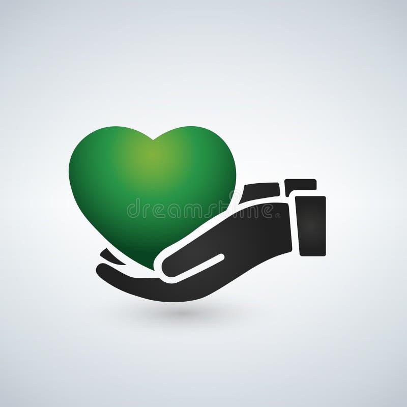 Opiek zdrowotnych ręki trzyma zielonego serce, ilustracja ilustracji