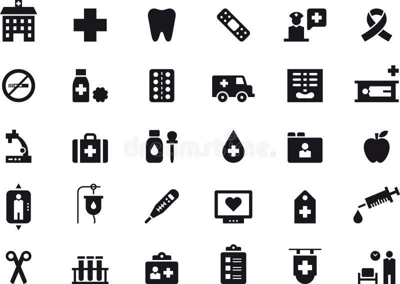 Opieka medyczna i szpital ikony set royalty ilustracja