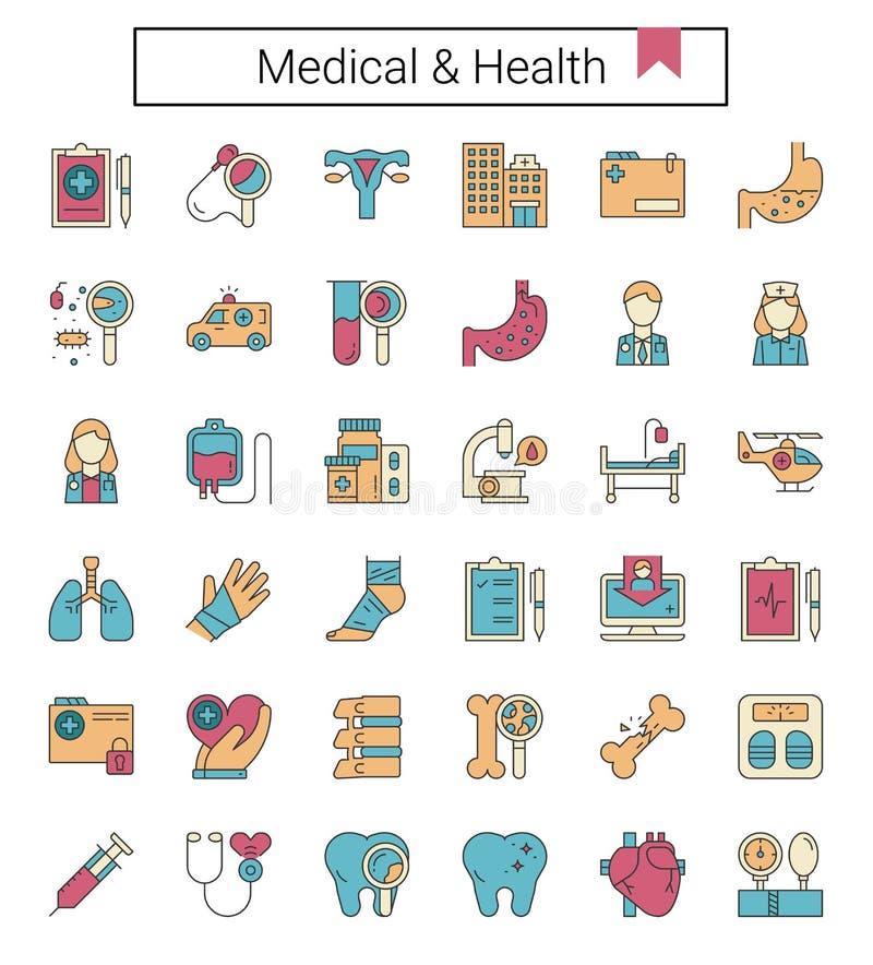 Opieka medyczna i zdrowie wypełniający kontur projektujemy ikona set ilustracja wektor