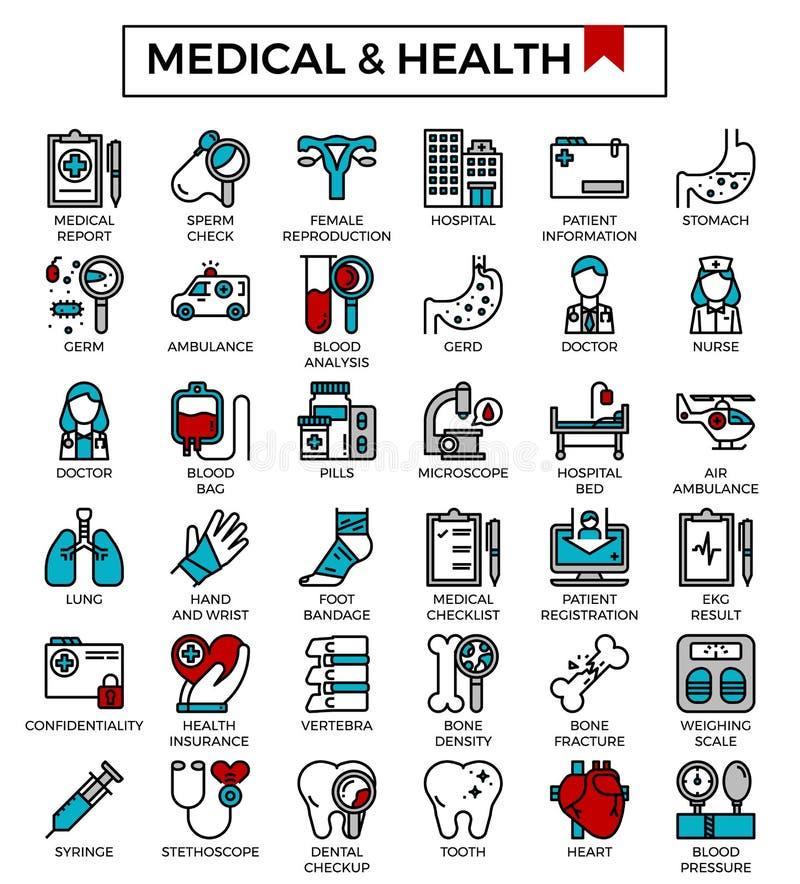 Opieka medyczna i zdrowie wypełniający kontur projektujemy ikona set royalty ilustracja