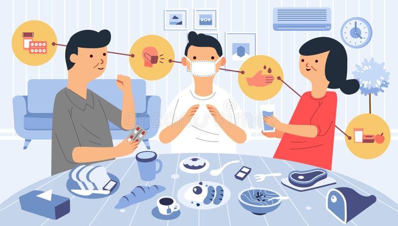 Opieka nad chorymi w domu z lekarstwami, zdrowym jedzeniem, myciem ręki i noszeniem maski obrazy stock
