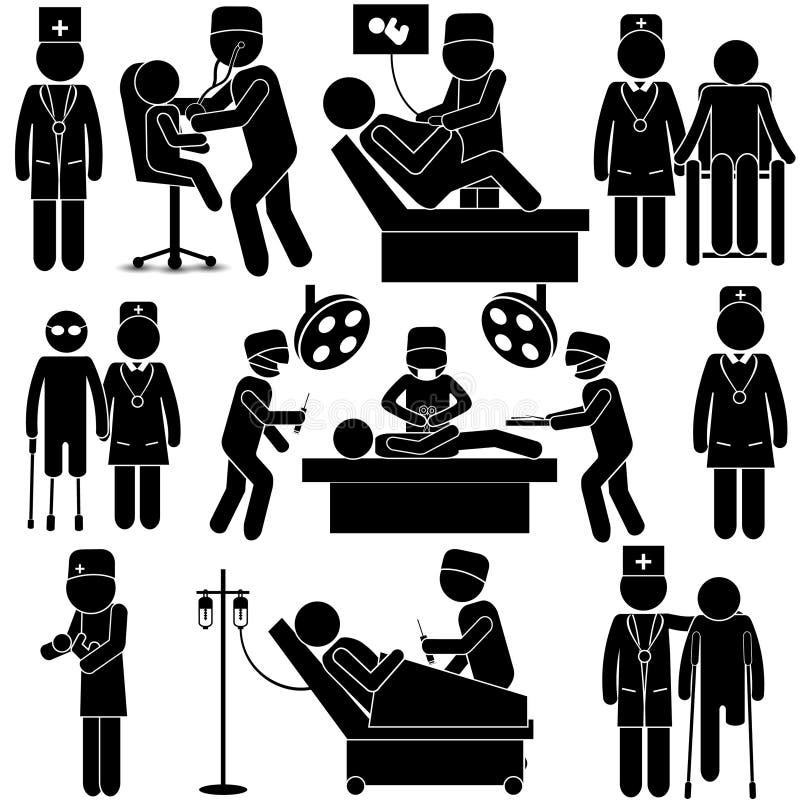 Opieka Zdrowotna kija postać royalty ilustracja