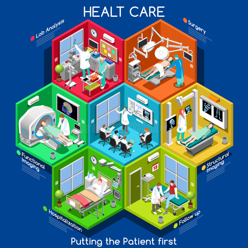 Opieka zdrowotna 01 komórka Isometric ilustracja wektor