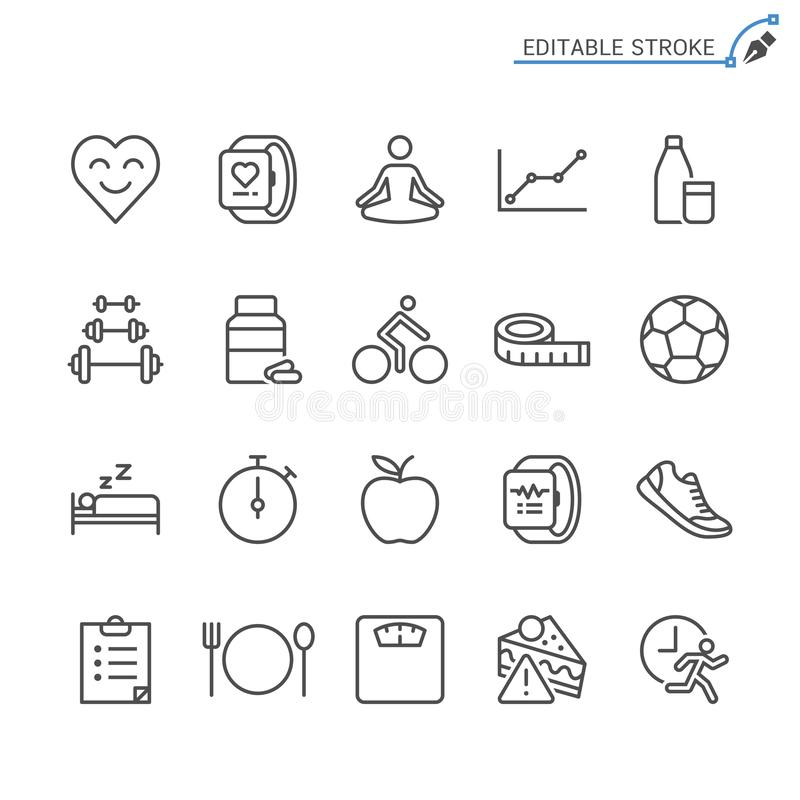 Opieka zdrowotna konturu ikony set ilustracja wektor