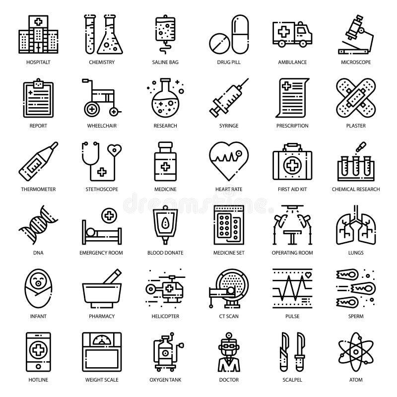 Opieka zdrowotna konturu medyczna ikona ilustracja wektor