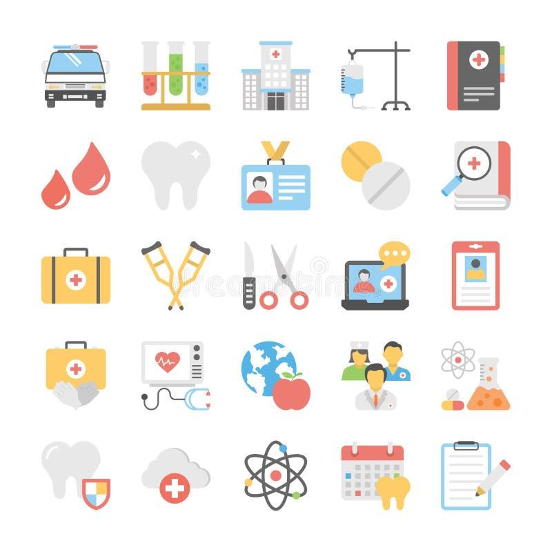 Opieka zdrowotna Płascy wektory Ustawiający ilustracji