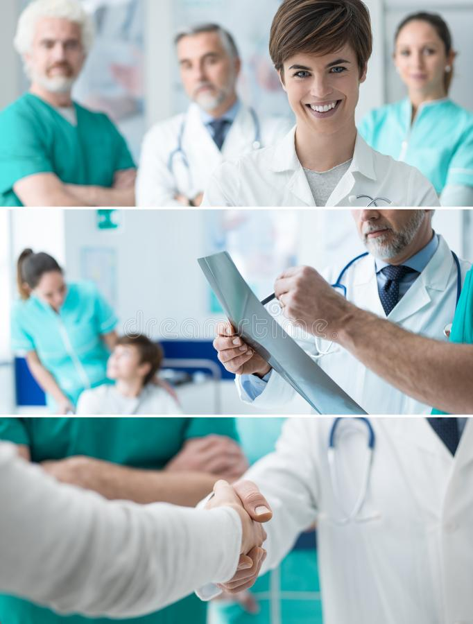 Opieka zdrowotna profesjonalistów sztandary ustawiający zdjęcia royalty free