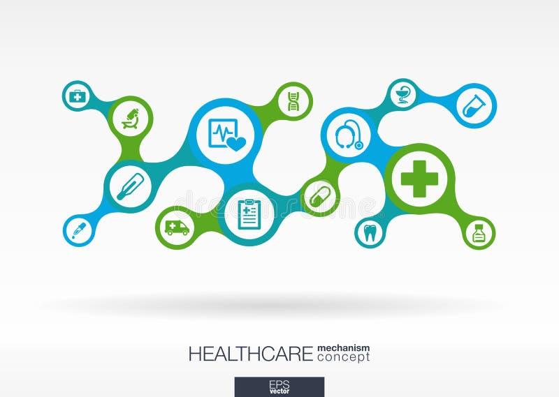 Opieka zdrowotna Wzrostowy abstrakcjonistyczny tło z związanym metaball i zintegrowanymi ikonami ilustracji