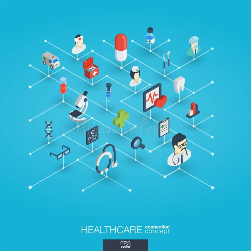 Opieka zdrowotna, zintegrowane 3d sieci ikony Cyfrowej sieci isometric pojęcie ilustracji