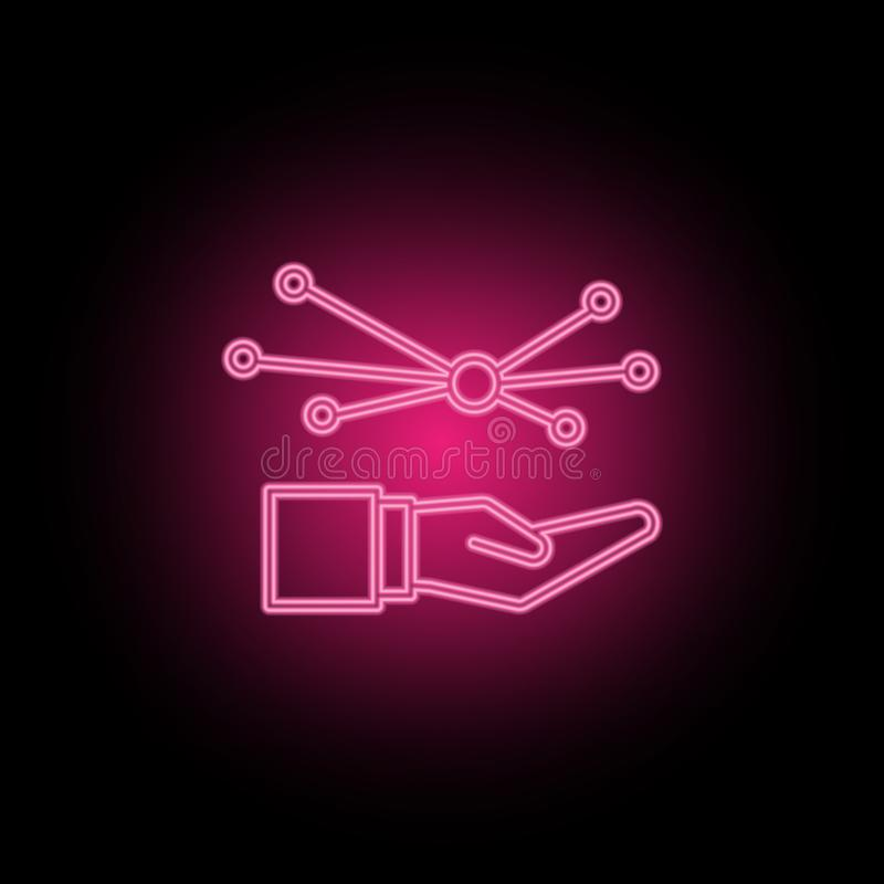 Opieka, związek, sieci neonowa ikona może używać ilustrować tematy o SEO optymalizacji, dane analityka, strony internetowej perfo ilustracji