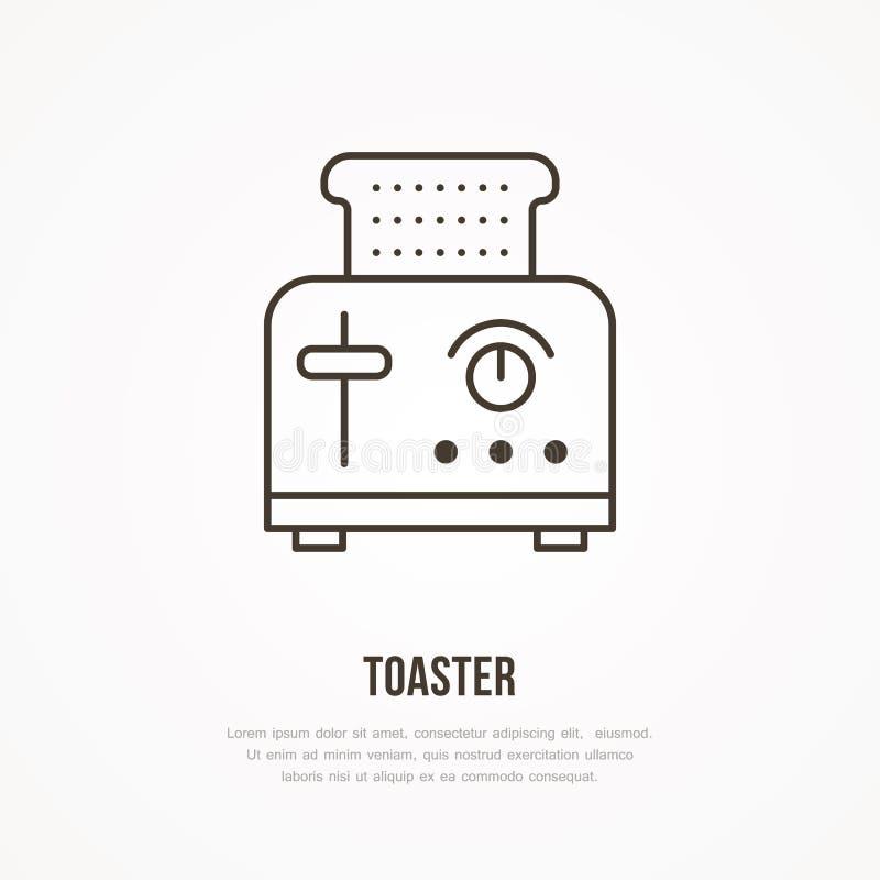 Opiekacza mieszkania linii wektorowa ikona Kulinarnego wyposażenia liniowy znak Konturu symbol dla gospodarstw domowych kuchennyc ilustracja wektor