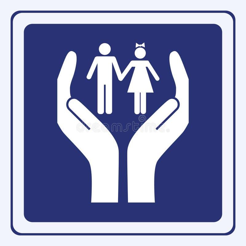 Download Opieki dzieci znak ilustracja wektor. Obraz złożonej z wygoda - 12845863