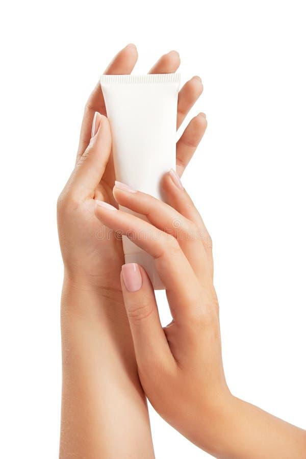 opieki kremowa ręk s tubki kobieta obrazy stock