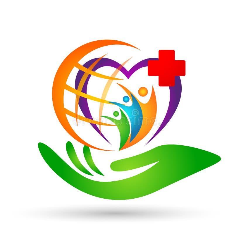 Opieki medycznej kuli ziemskiej ręki opieki zdrowie pojęcia logo ikony elementu rodzinnego kierowego znaka na białym tle ludzie royalty ilustracja