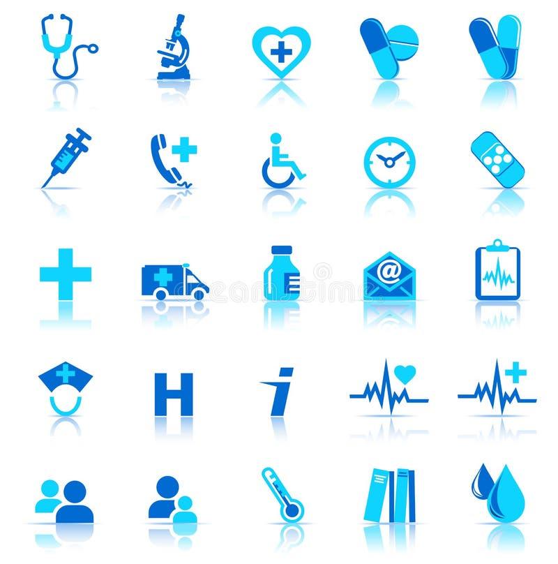 opieki zdrowie ikony royalty ilustracja