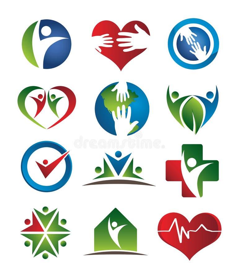 opieki zdrowie logowie royalty ilustracja