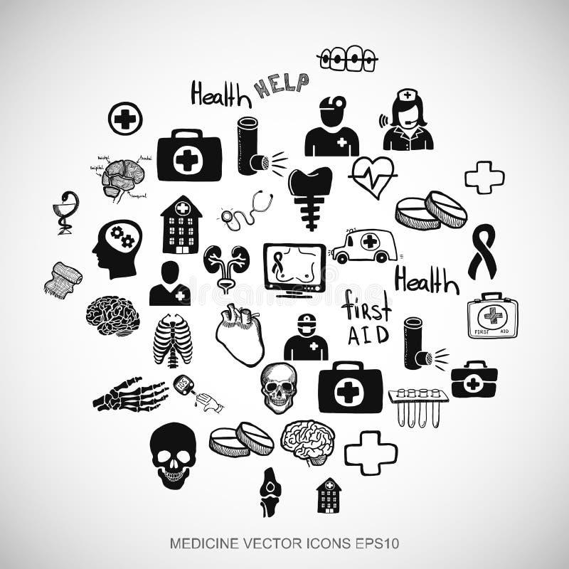 Opieki zdrowotnej czerni doodles Wręczają Patroszone medycyn ikony ustawiać na bielu EPS10 wektorowa ilustracja royalty ilustracja