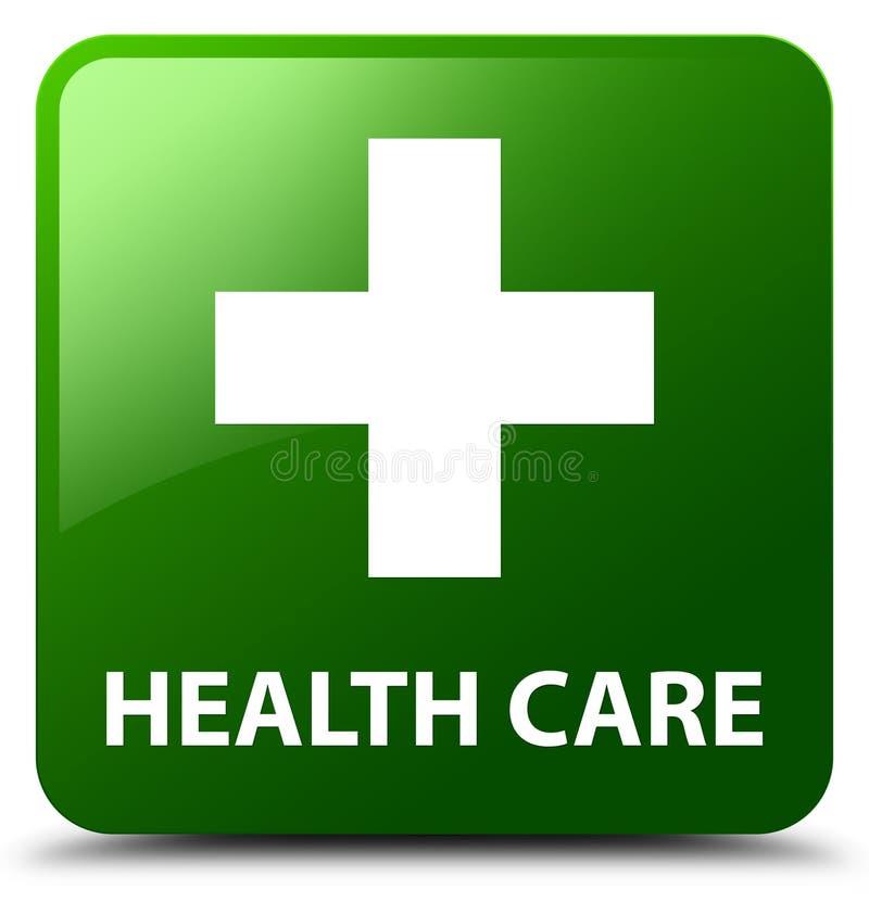 Opieki zdrowotnej (plus znak) zieleń kwadrata guzik royalty ilustracja
