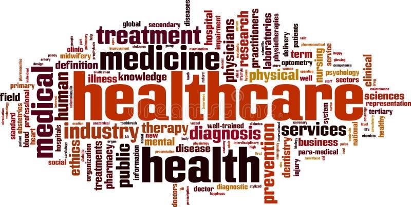 Opieki zdrowotnej słowa chmura ilustracja wektor