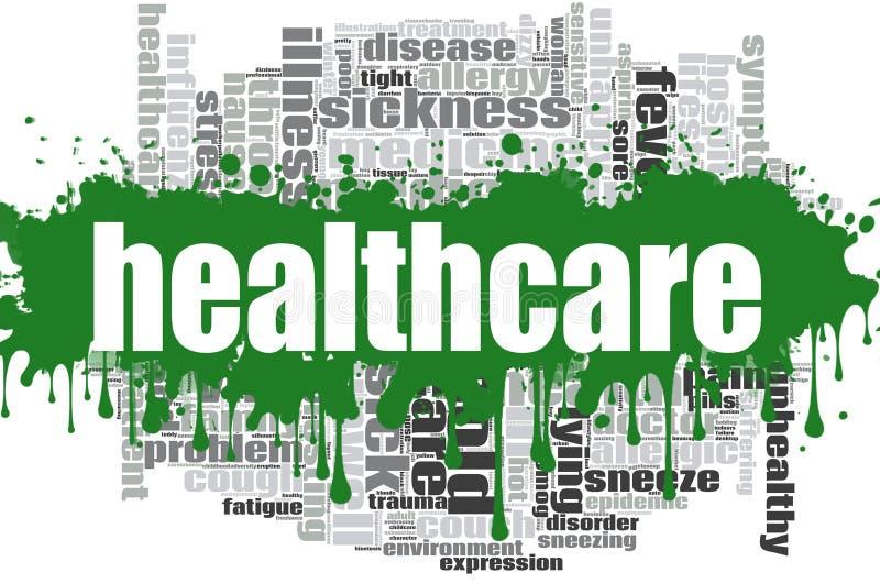Opieki zdrowotnej słowa chmury projekt ilustracja wektor