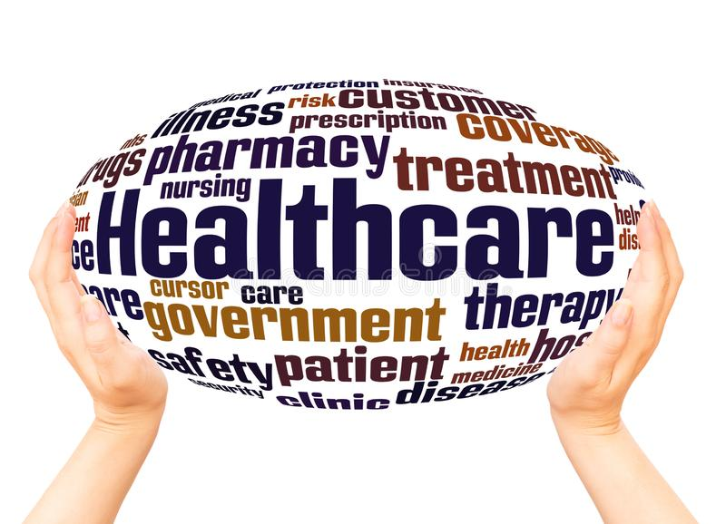 Opieki zdrowotnej słowa chmury ręki sfery pojęcie royalty ilustracja