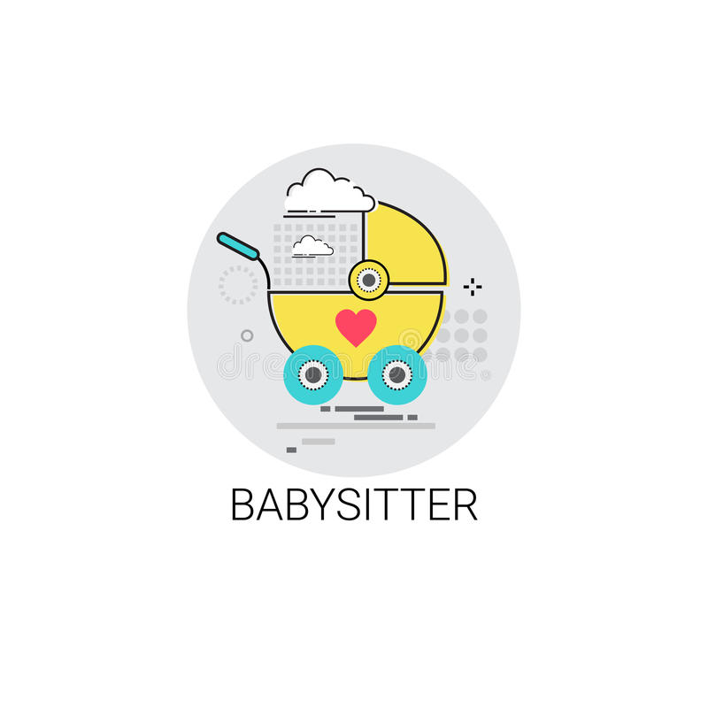 Opiekunka do dziecka spacerowicza dziecka fury ikona ilustracji